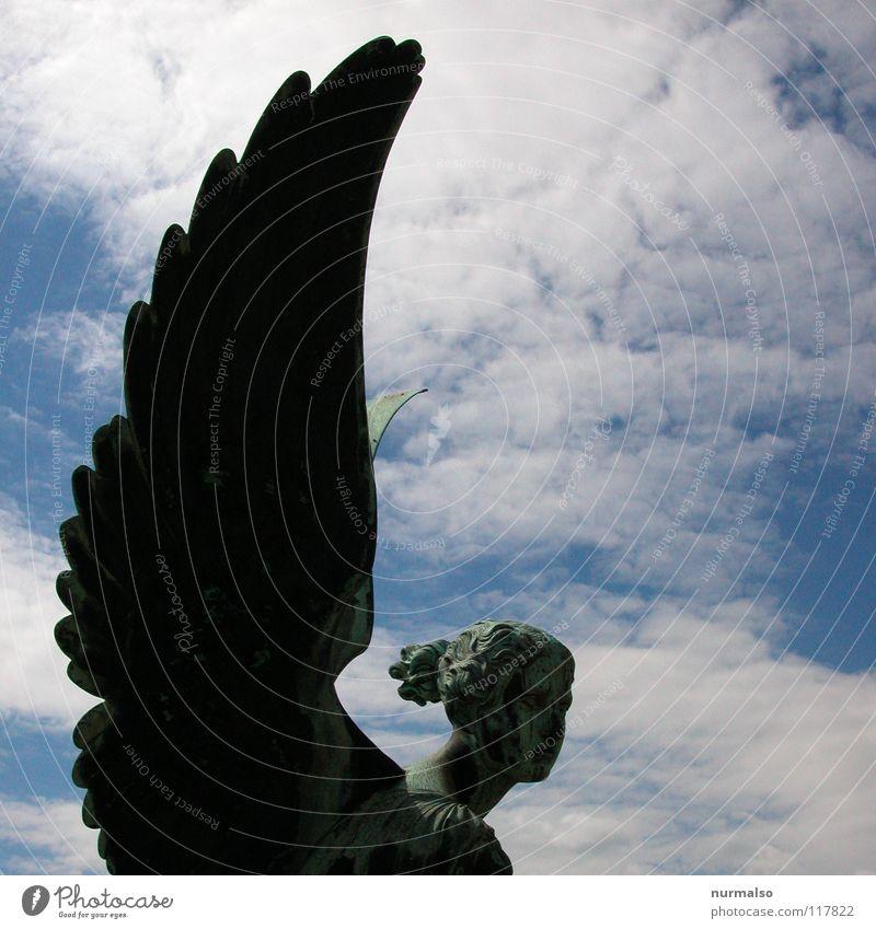 ich bin kein Engel Himmel alt schön Wolken Gefühle Kopf Stein Religion & Glaube Park Erde Flügel Engel Feder Bauwerk Filmindustrie gruselig