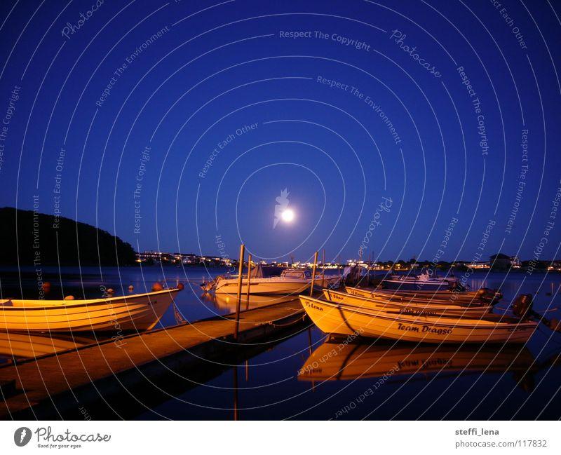 Karlskrona Hafen Wasserfahrzeug Meer Steg Stadt Sommer Mond Schweden Schäre