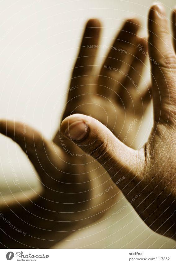 HIGH FIVE Mensch Mann Hand Freude Religion & Glaube Erfolg nah Spiegel Teamwork Gott Gebet Daumen Applaus Reflexion & Spiegelung
