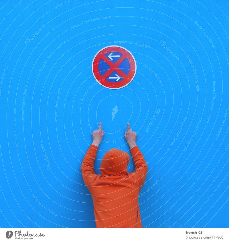 Regeln sind doof! Mensch Mann blau Hand weiß schön rot Farbe Wand Mauer orange Deutschland Arme Schilder & Markierungen maskulin Verkehr