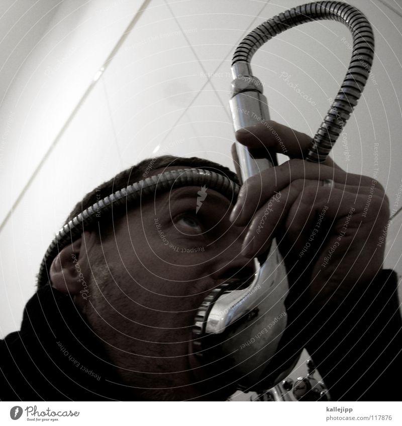 munddusche Mensch Mann Wasser Gesicht Ernährung Lebensmittel Kopf Trinkwasser verrückt Telekommunikation trinken Sauberkeit Bad tauchen brennen trashig