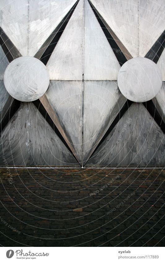 Kreuzweise verwehrt Stahl Gewerbe Gebäude Eingang Ausgang Edelstahl Rostfreier Stahl Befestigung Fassade Festung rund Design Kunst seltsam Schweißen Schweißnaht