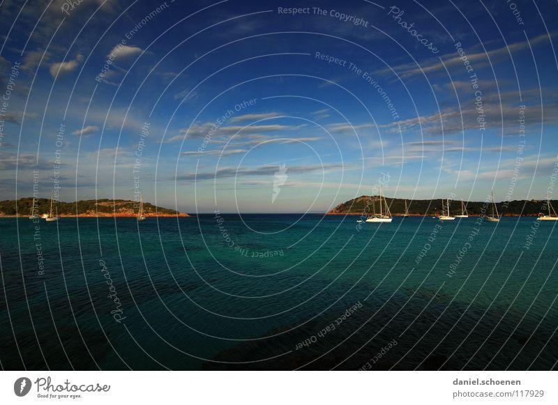 für Wintermuffel Wasser Sonne Meer grün blau Sommer Strand Ferien & Urlaub & Reisen ruhig Wolken Ferne Farbe Berge u. Gebirge Wärme Wasserfahrzeug Küste