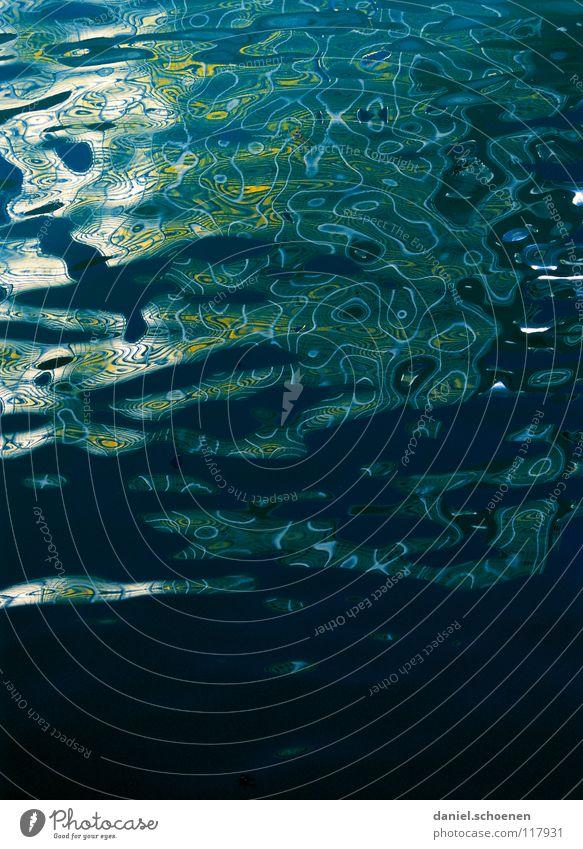 Wasser Wellen abstrakt Hintergrundbild zyan grün Oberfläche Meer gelb Reflexion & Spiegelung Strukturen & Formen Farbe reflektion Kreis Linie blau Schatten