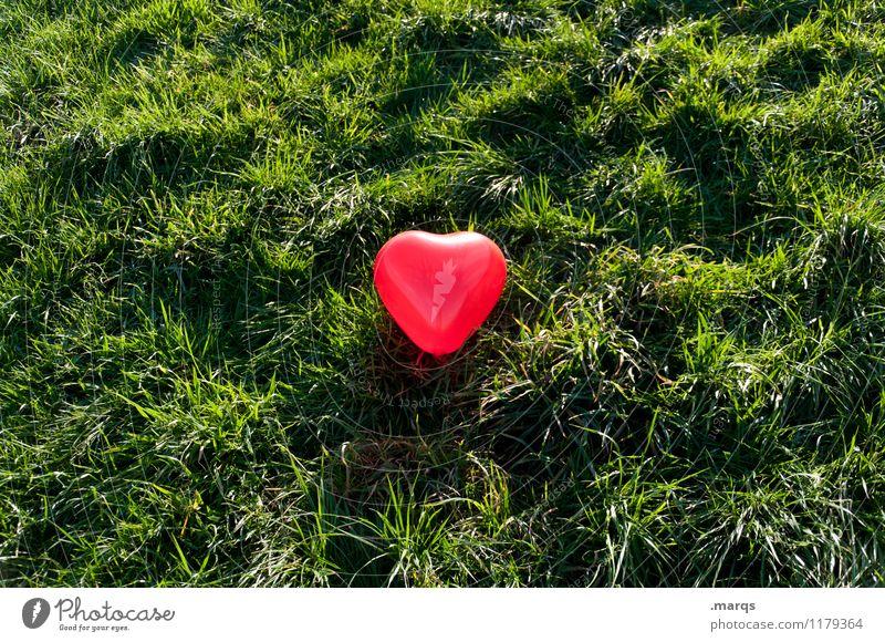 Freie Liebe Natur Wiese Herz grün rot Gefühle Lebensfreude Verliebtheit Romantik Partnerschaft Liebesaffäre Mittelpunkt Farbfoto Außenaufnahme