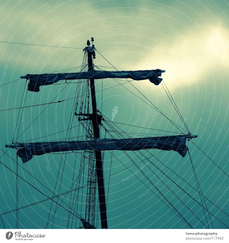 Piratenträume Himmel grün Meer Wolken See Wasserfahrzeug Wind Seil Nordsee Segeln türkis Schifffahrt Strommast Ostsee Leiter Segel