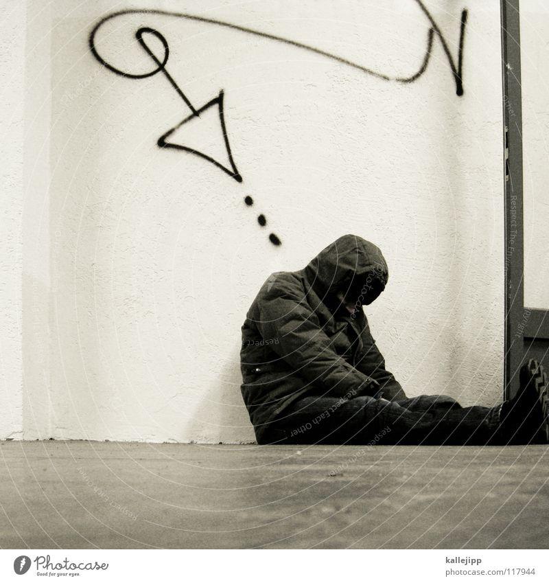 endstation Mensch Mann Leben Traurigkeit Graffiti Armut sitzen schlafen Ecke Ende Pfeil Müdigkeit Richtung Verzweiflung Gesellschaft (Soziologie) abwärts