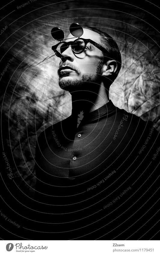 Stranger Jugendliche Junger Mann 18-30 Jahre dunkel Erwachsene Stil Lifestyle Mode maskulin Design elegant Kraft Brille Coolness sportlich Bart