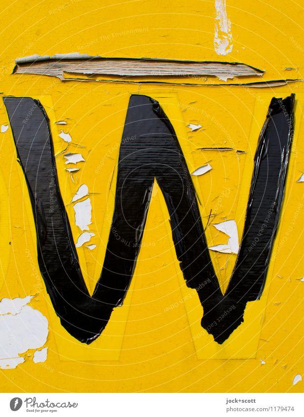 das gelbe W Typographie Folie Kunststoff Schriftzeichen Schilder & Markierungen Großbuchstabe einfach kaputt retro Verfall Vergänglichkeit Wandel & Veränderung