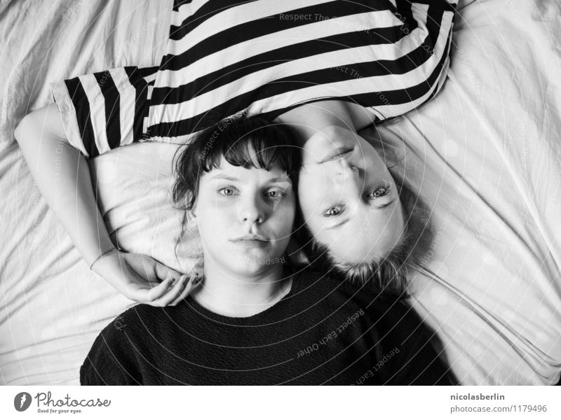 Zwei junge Frauen liegen lässig auf Bett mit Köpfen zusammen und gucken in die Kamera Paar schön feminin Liebe Freundschaft Junge Frau harmonisch Wohlgefühl