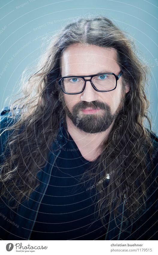 cool man 40 Mensch Mann blau Erwachsene Haare & Frisuren außergewöhnlich wild Kraft authentisch frei Erfolg einzigartig Kultur Brille Coolness Macht