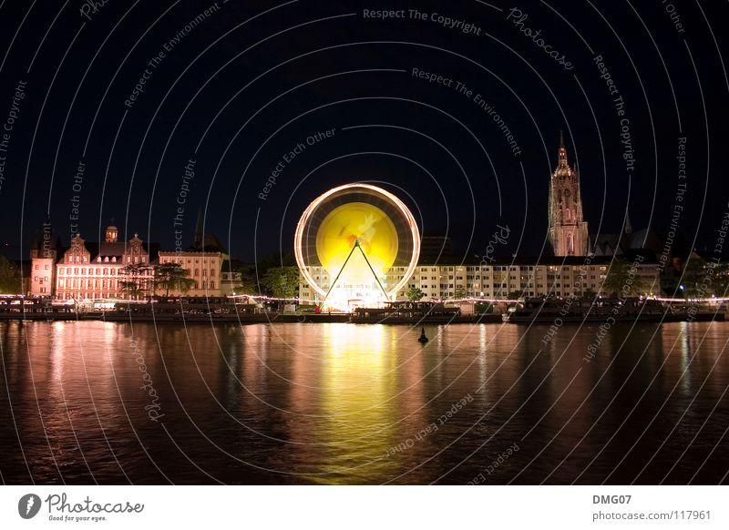 Riesenrad bei Nacht Lifestyle Sommer Winter Nachtleben Jahrmarkt Herbst Skyline Gefühle Stimmung Freude Glück Fröhlichkeit Frankfurt am Main Langzeitbelichtung