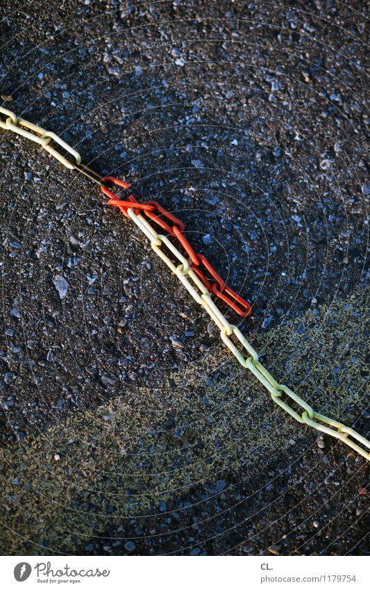 kette rot gelb Wege & Pfade grau kaputt Boden Barriere Kette Durchbruch