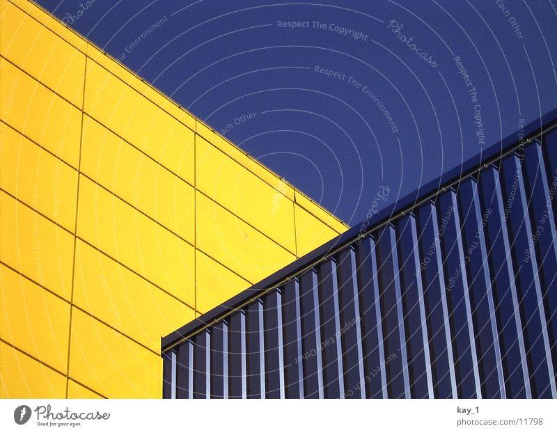 Diagonal-Welt blau gelb Linie Architektur diagonal Kaufhaus Möbelkaufhaus