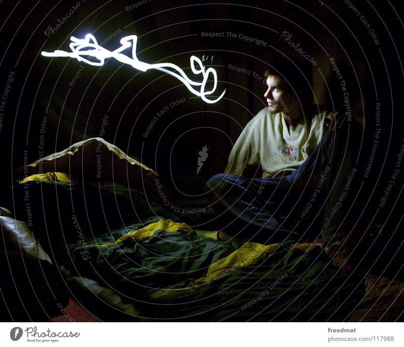 Geistesblitz Taschenlampe Schichtarbeit Langzeitbelichtung Gedanke Schlafsack Nacht dunkel Idee froodmat geschmackvoll Abend