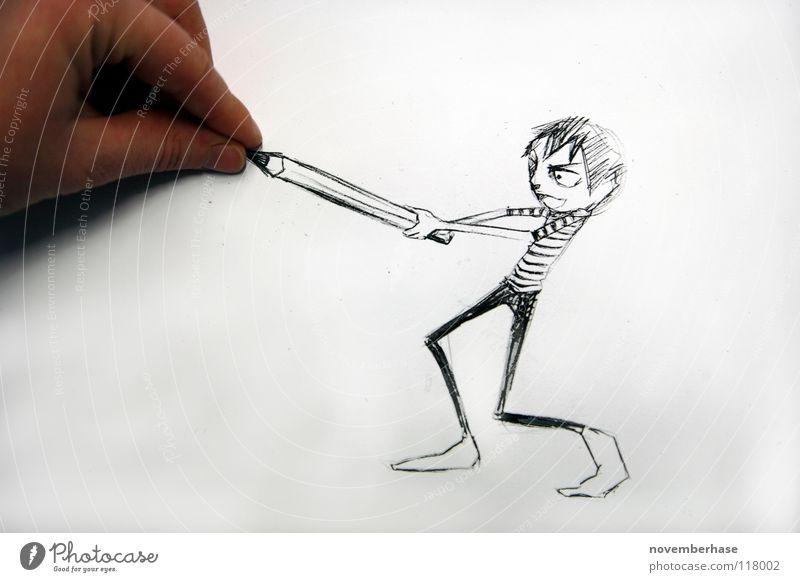 Thats my pencil! Kind Mensch Hand weiß Freude Humor schwarz Junge Gefühle Haare & Frisuren Kunst Freizeit & Hobby Haut Finger Erfolg Papier