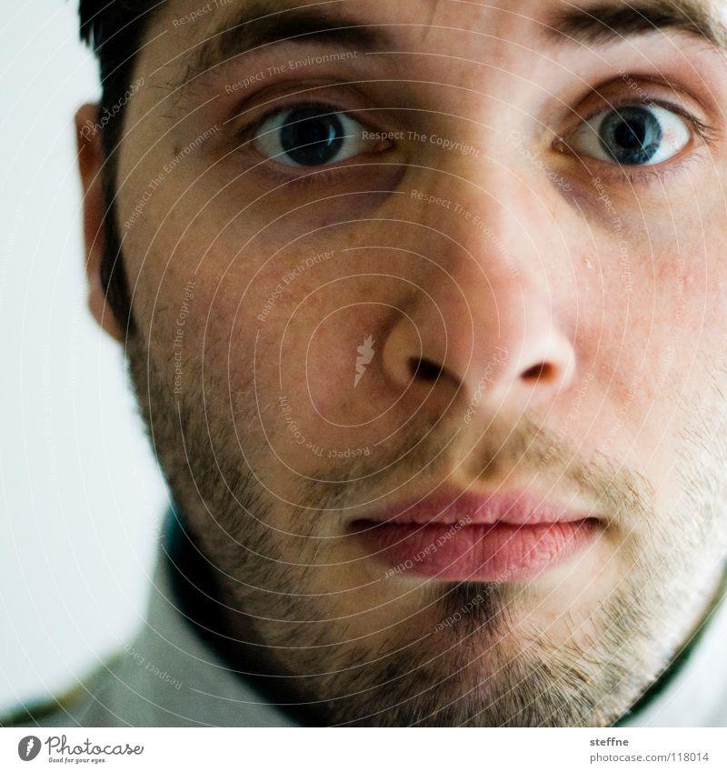 j_sky, ich glaubs nicht! Mann schön Gesicht Auge Mund lustig Lippen Bart Typ Überraschung Kerl erstaunt staunen Regenbogenhaut
