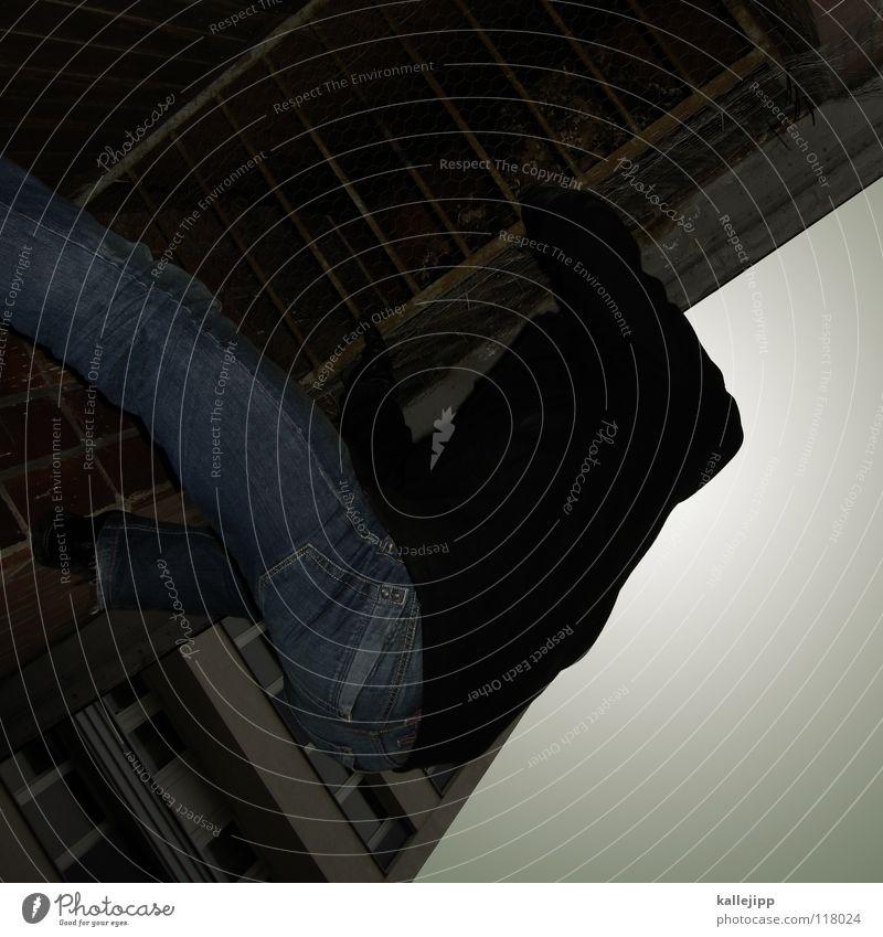 ...allein... Le Parkour Plattenbau Haus Mieter Selbstmörder springen Freestyle Aktion Himmel Limit Surfer Luft Klettern Fassade Freeclimber Hochhaus Hand Mann