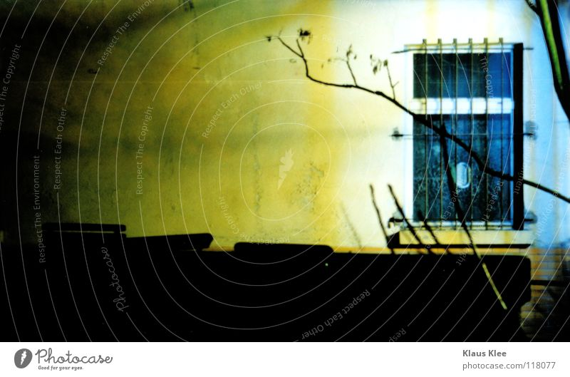 LIGHT WITHOUT LIGHT . Fenster Nacht rot Baum Licht schwarz Gitter Schalter Lomografie verfallen Langzeitbelichtung Bild Farbe