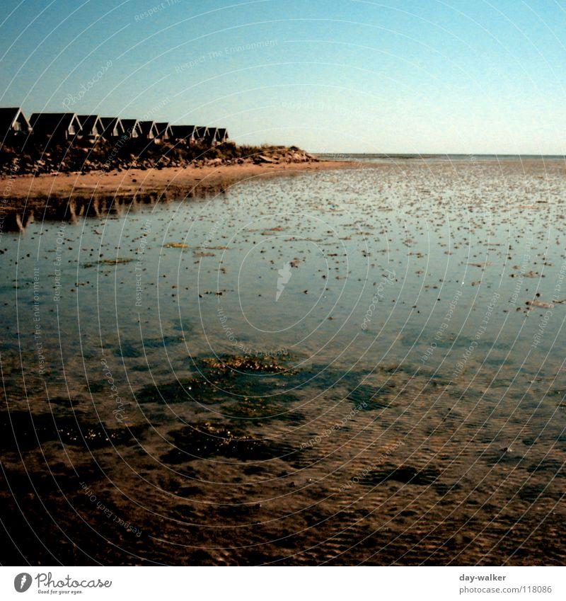 WATT fürn Ausblick Meer Strand Wurm Wattwürmer Haus Holzhaus Horizont Reflexion & Spiegelung Schlick Ebbe Niedrigwasser ruhig Küste Europa Schifffahrt Wasser
