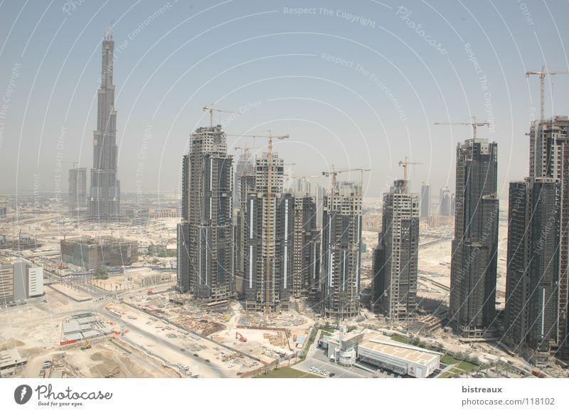 Burj Dubai 001 Sand Hochhaus Baustelle Wüste Kran Morgen Vereinigte Arabische Emirate