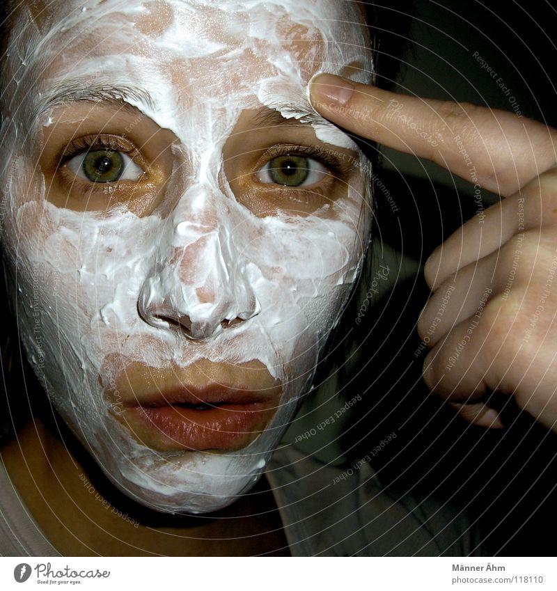 Gehts noch? Frau Hand schön weiß Gesicht Auge Mund Vogel Gesundheit Haut Finger Wellness Bad Sauberkeit Klarheit Reinigen