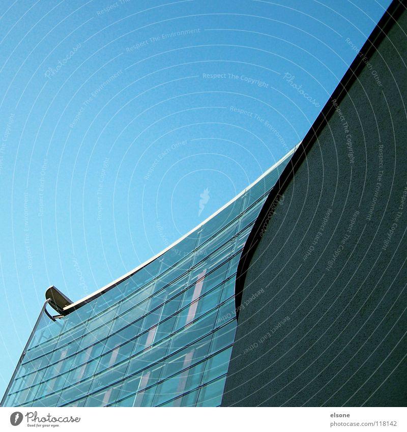 ::ARCHITEKTUR:: Haus Gebäude Beton Mauer schick Stahl Schwung rund geschwungen kalt frisch rein Sauberkeit blau babyblau Pforzheim Öffentlicher Dienst modern
