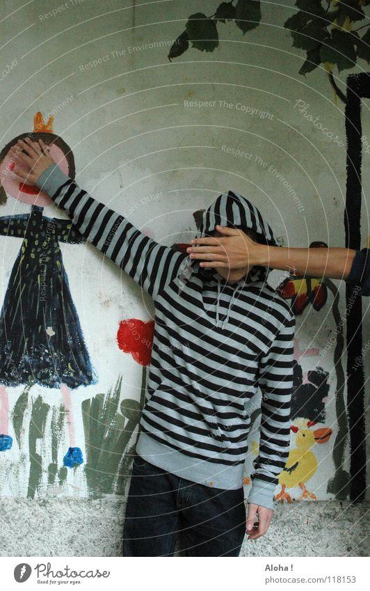Nichts für kleine Mädchen! Frau Mann Hand Jugendliche Baum Blume grün blau rot Blatt schwarz Einsamkeit gelb Wiese Wand