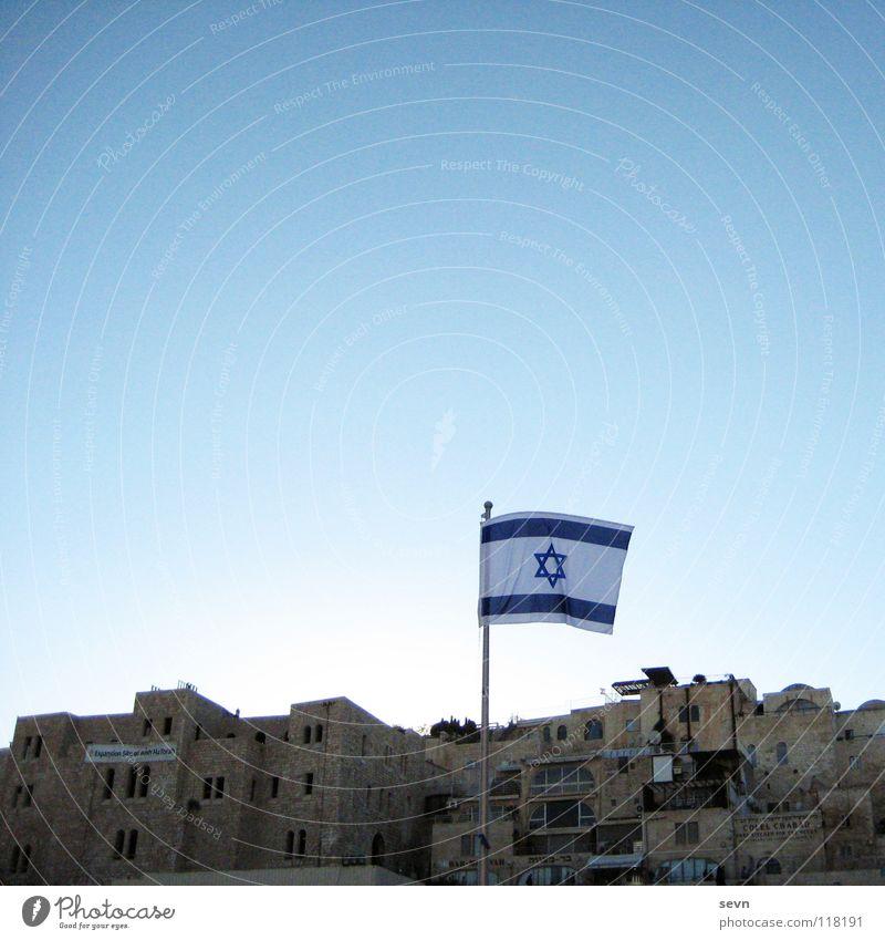 Konflikt Israel Jerusalem Fahne Haus Konflikt & Streit Davidstern Politik & Staat Klagemauer Asien Wahrzeichen Denkmal Altstadt Außenaufnahme Wolkenloser Himmel