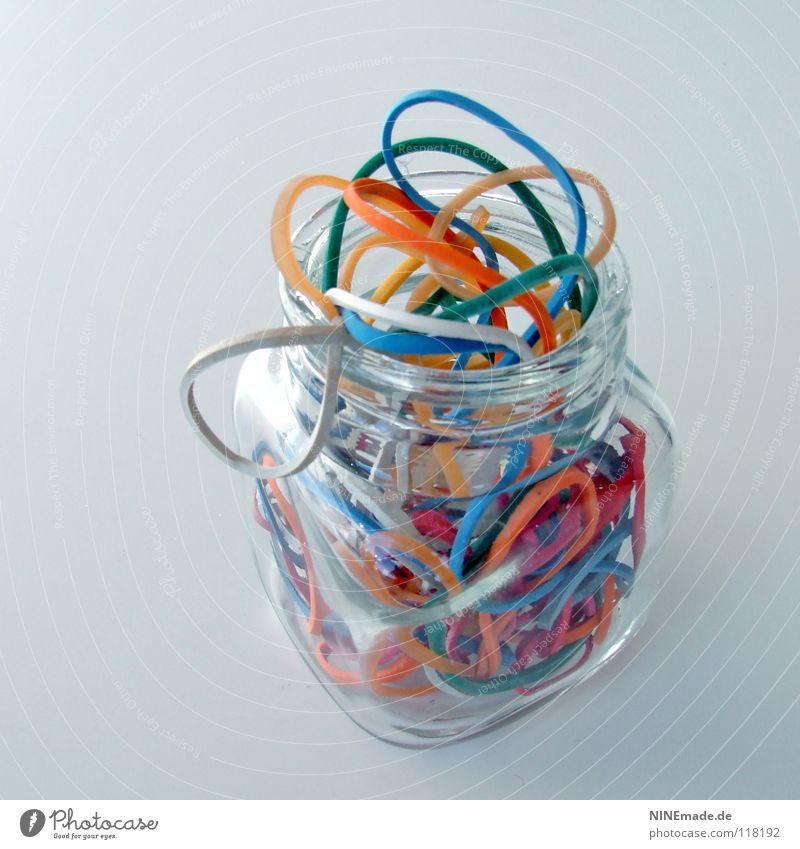 Gummiglas blau grün lustig orange Ordnung Dekoration & Verzierung mehrere Glas Dinge Elektrizität Seil rund Küche Kabel viele Zusammenhalt