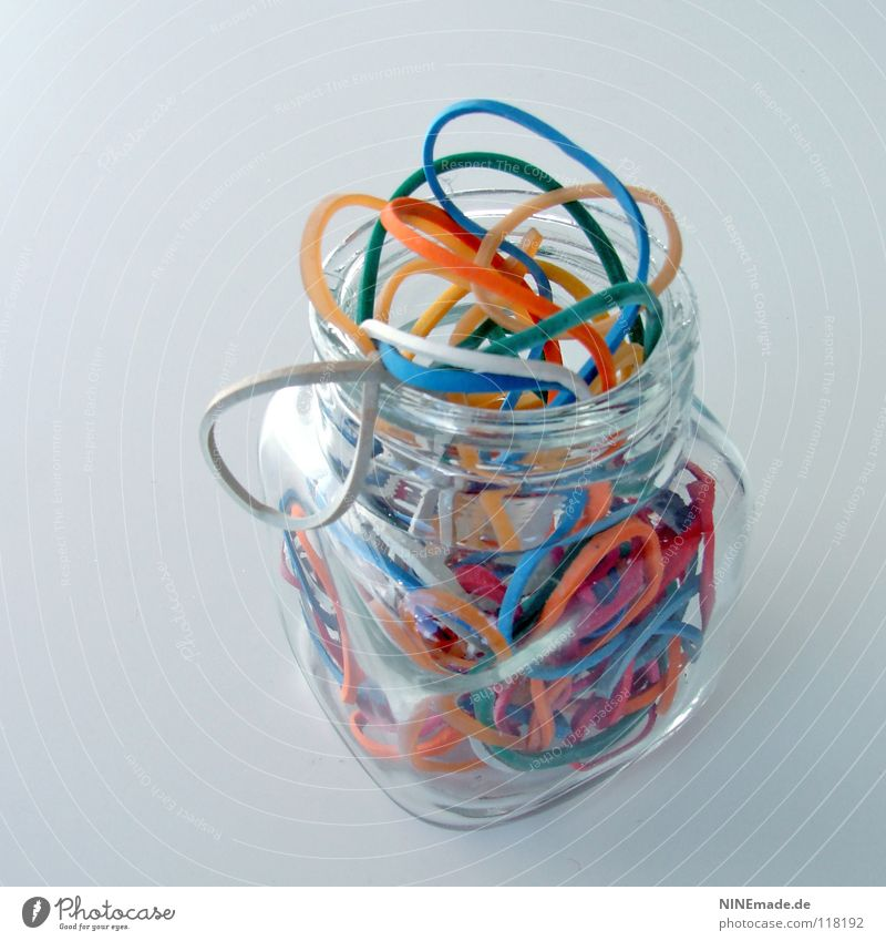 Gummiglas mehrfarbig grün Zusammenhalt Halt binden rund elastisch mehrere durcheinander Kautschuk Dinge Dekoration & Verzierung Seil Kabelsalat Küche Sammlung