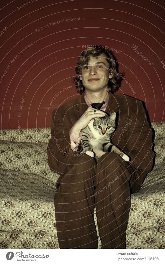 KATZENLIEBHABER Katze Mensch Mann schön rot Freude Tier Liebe Wand Gefühle Wärme Haare & Frisuren Glück Mauer Stil Mode