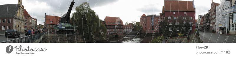 Lüneburg - Wasserviertel (Pano) Kran Panorama (Aussicht) historisch Stint Hafen Altstadt groß Panorama (Bildformat)