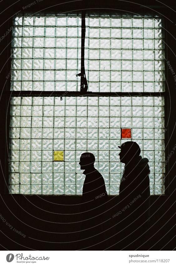schwarz rot gold Licht Fenster Silhouette durchscheinend Fensterscheibe geheimnisvoll ruhig verfallen schön Profil Strukturen & Formen Idee