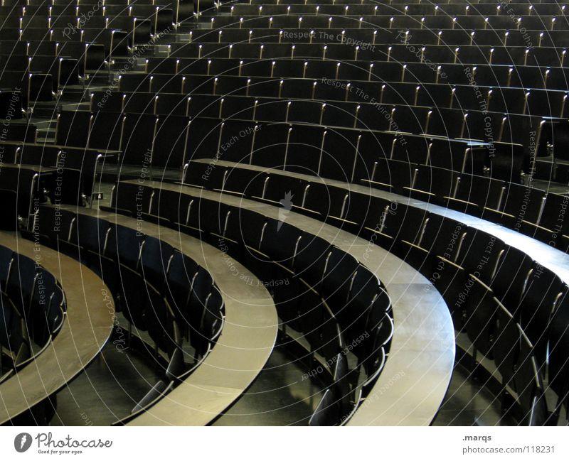 Leerveranstaltung Stuhl Holz Holzbank Raster Sitzreihe Bestuhlung anmelden Audimax Steigung leer rund Studium Erwartung Veranstaltung Ziel schwarz dunkel