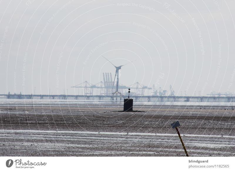 Another Day In Grey Sommer Wasser Landschaft Meer schwarz Umwelt Küste grau braun Tourismus Arbeit & Erwerbstätigkeit Energiewirtschaft trist