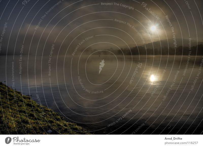Nebel am See HDR Morgen Sonnenaufgang Reflexion & Spiegelung frisch kalt Herbst Baum Wolken Horizont Wellen Teich Himmel dri Wasser Glätte