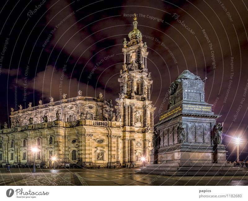 Katholische Hofkirche (Dresden) Stadt Hauptstadt Stadtzentrum Altstadt Kirche Sehenswürdigkeit Denkmal Stein historisch Tourismus Hofkirche Dresden Wolkenfeld