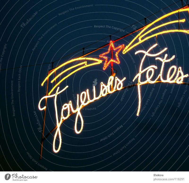 Stern der Weisen - Joyeuses Fêtes Frankreich Lichterkette Beleuchtung Veranstaltungsbeleuchtung Neonlicht Stern (Symbol) Europa Buchstaben Schriftzeichen