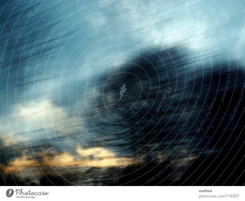 schnell nach hause Himmel weiß Baum Sonne blau schwarz Wolken gelb gold Geschwindigkeit Gemälde Abenddämmerung Rauschen