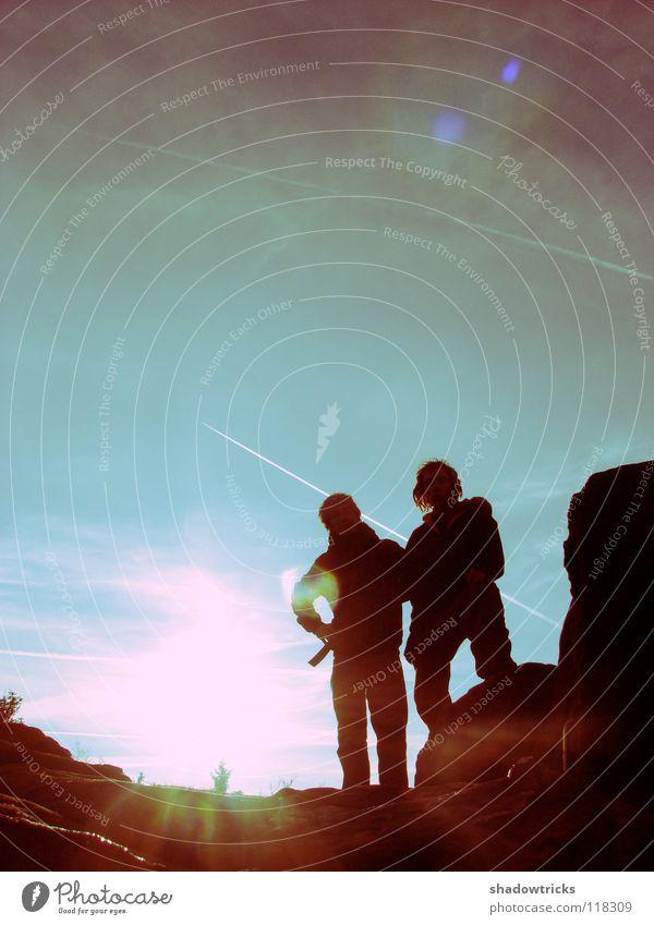 Moon exploration unit Zukunft Raumfahrt Galaxie Planet zyan türkis grün Gegenlicht Kondensstreifen Luftverkehr Mond Weltall Space Science Fiction Future Erde