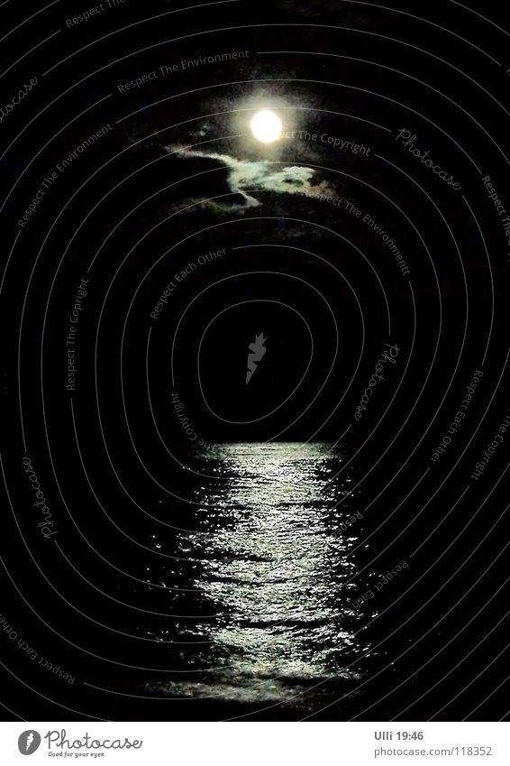 Dunkel war's, der Mond schien helle... Himmel Natur Ferien & Urlaub & Reisen Wasser Meer Einsamkeit ruhig Wolken Strand dunkel schwarz Küste Stimmung glänzend Idylle Insel