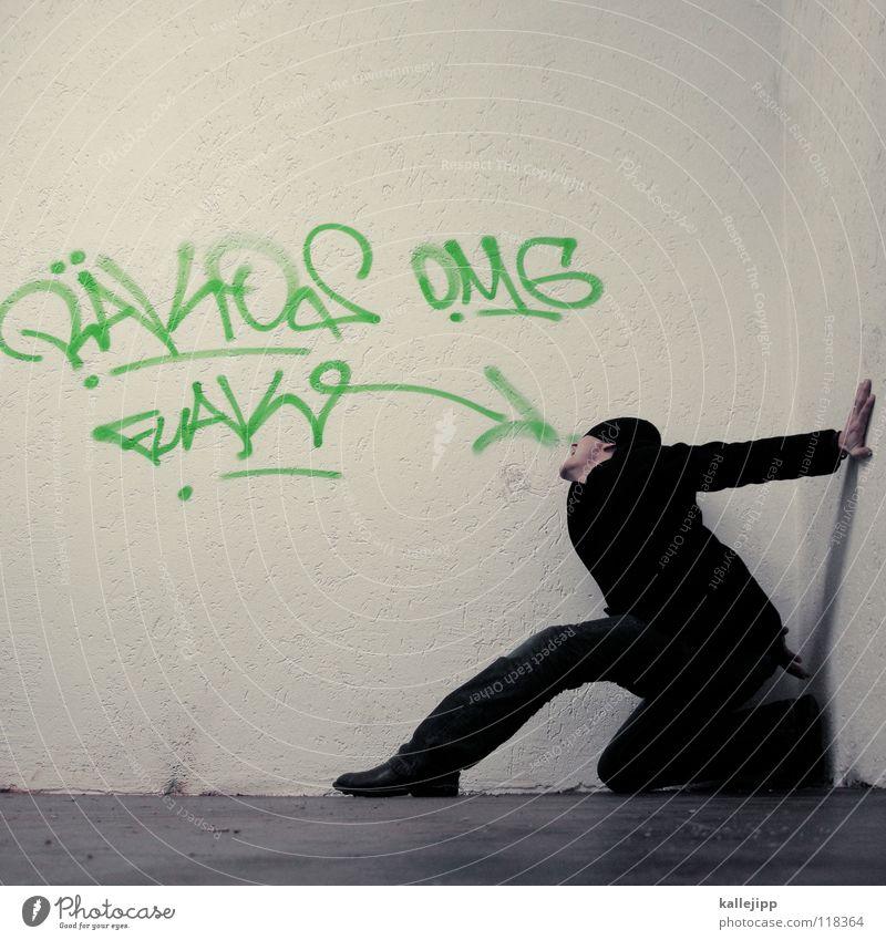 (b)eat it! Mensch Mann blau Hand weiß rot Freude ruhig Ernährung kalt Graffiti Wand sprechen Gefühle Mauer lustig
