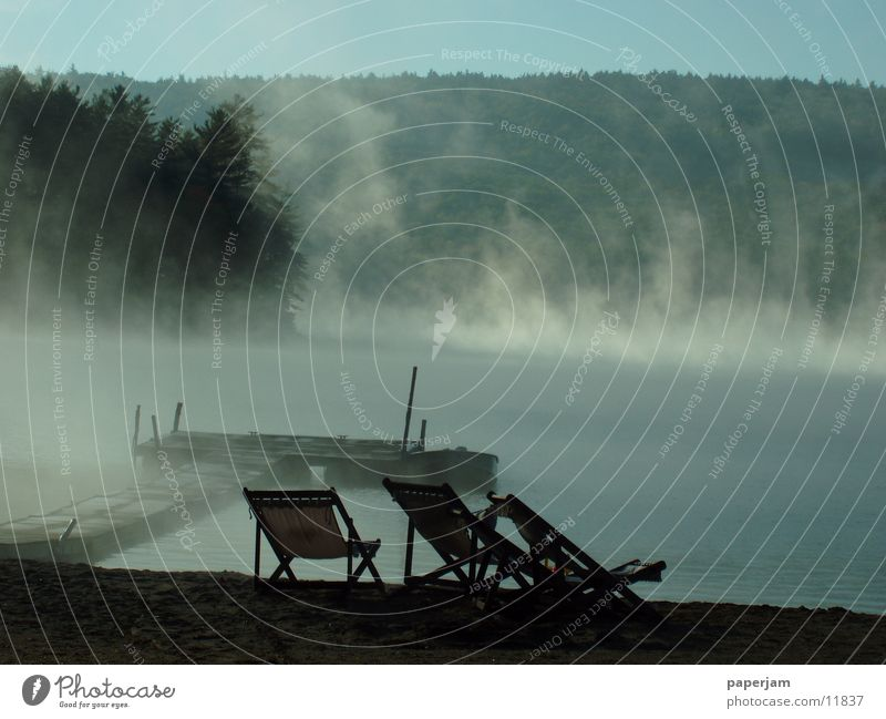 Squam Lake II See Landschaft Wasserfahrzeug Nebel USA Steg