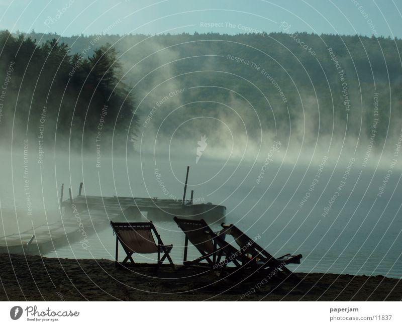 Squam Lake II See Nebel Steg Wasserfahrzeug Sonnenaufgang Landschaft USA