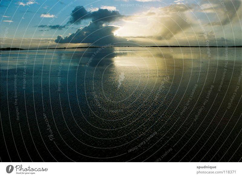 wie weit ist es noch bis zum himmel ? Wasser schön Himmel Sonne Meer Strand Wolken Ferne See Küste Horizont Nordsee Dänemark Wattenmeer Wattwandern