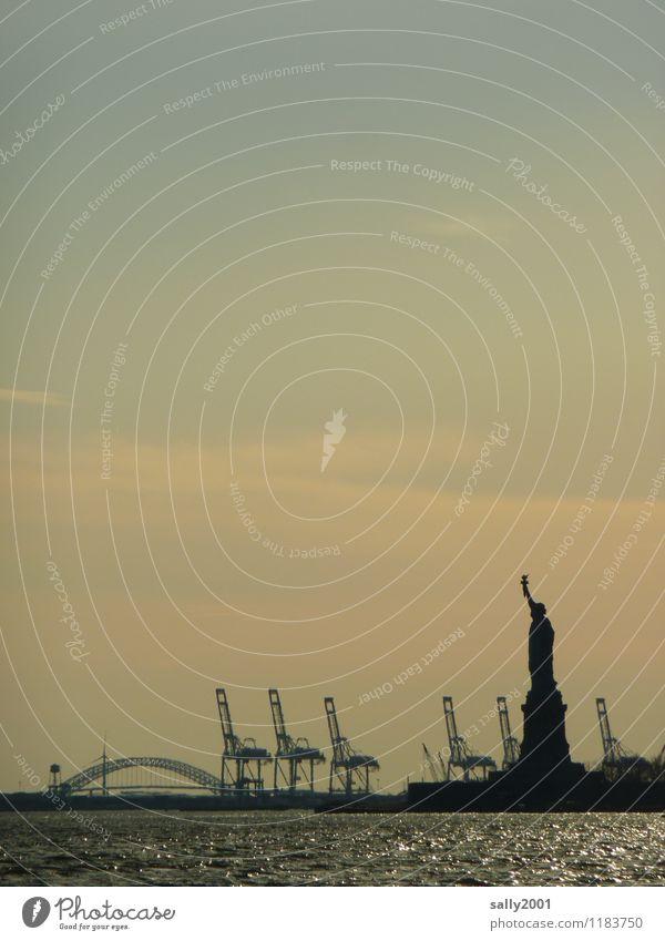 Freiheit im Hafen... New York City USA Amerika Hafenstadt Sehenswürdigkeit Wahrzeichen Freiheitsstatue Bekanntheit fantastisch gigantisch Kraft Hudson River