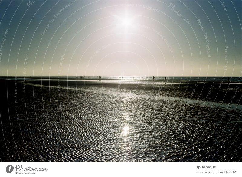 warme kälte Strand Strukturen & Formen weitläufig Platz Schlamm Gegenlicht Reflexion & Spiegelung Sonnenstrahlen atmen schön Küste Meer Wattenmeer Sand