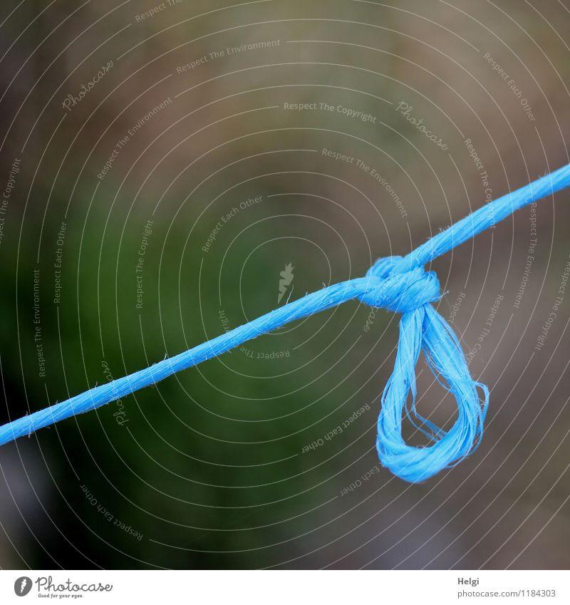anbändeln... Schnur Knoten hängen authentisch außergewöhnlich einfach einzigartig lang blau grau Wandel & Veränderung diagonal Farbfoto mehrfarbig Außenaufnahme
