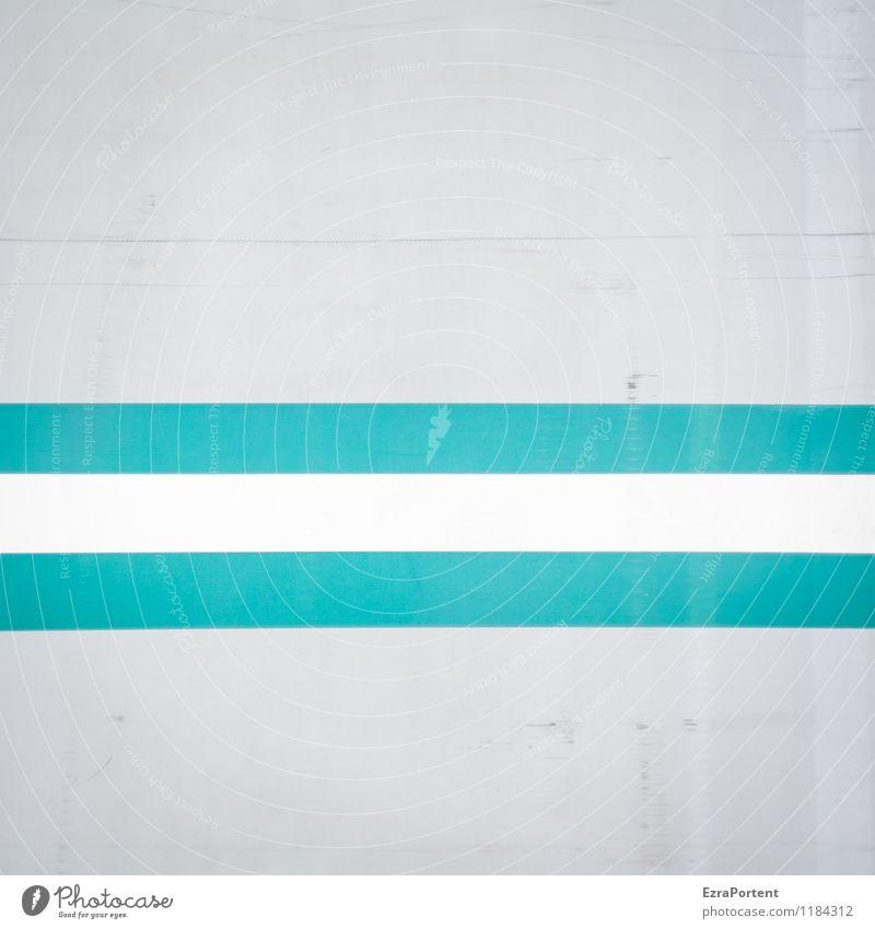 - Stil Design Dekoration & Verzierung Metall Zeichen Streifen ästhetisch dreckig hell grau türkis weiß Farbe gestalten gerade Kratzer zerkratzen Geometrie